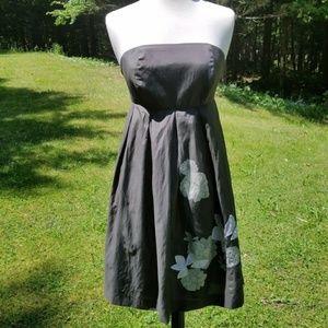 GAP Cotton Silk Strapless Gray Dress 2
